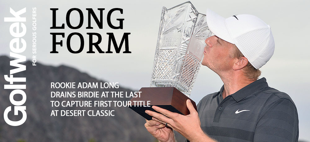 Jan 20, 2019; La Quinta, CA, USA; Adam Long kisses the winners trophy after winning the Desert Classic golf tournament at PGA West - Stadium Course. Mandatory Credit: Orlando Ramirez-USA TODAY Sports