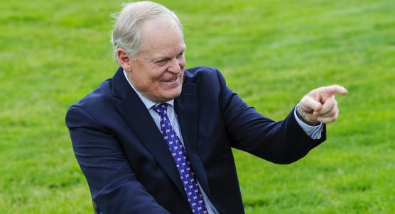 DUBLIN, OHIO - JUNE 01: Johnny Miller smiles during a presentation naming him the 2016 tournament honoree at practice for the Memorial Tournament presented by Nationwide at Muirfield Village Golf Club on June 1, 2016 in Dublin, Ohio. (Photo by Chris Condon/PGA TOUR)