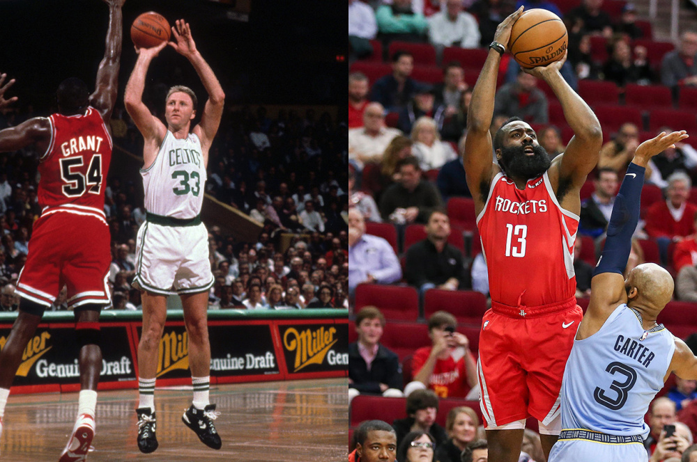 Larry Bird and James Harden