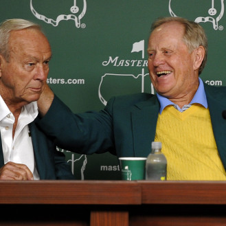 Honorary starters Arnold Palmer and Jack Nicklaus hold a press conference after their ceremonial tee shots to begin the 2012 Masters. (Getty Images)