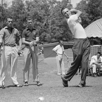 Arnold Palmer of Wake Forest tees off at the 1954 Southern Intercollegiate Golf Tournament at Athens, Ga. (AP Photo)