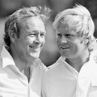 Golfing greats Arnold Palmer and Jack Nicklaus shared a friendship and rivalry that lasted more than 50 years. (AP Photo)