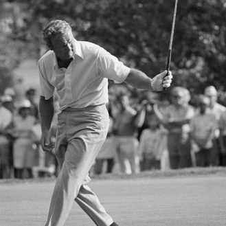Arnold Palmer had plenty of moves on the course, like this one in the 1971 PGA Championship. (AP Photo)