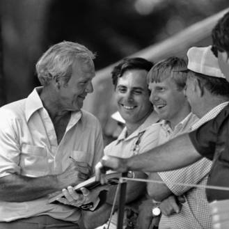 Some happy members of Arnie's Army collect autographs from veteran golfer Arnold Palmer on Wednesday, June 18, 1981 during practice round for the U.S. Open in Philadelphia. Palmer and 155 other men will begin tournament play on Thursday. (AP Photo/ Rusty Kennedy)