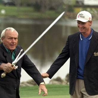 Arnold Palmer waved the ceremonial sword after Ernie Els won at Bay Hill. (Golfweek File Photo)