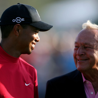 Tiger Woods and Arnold Palmer are pictured after Woods won the Arnold Palmer Invitational in 2008. (Andy Lyons/Getty Images)
