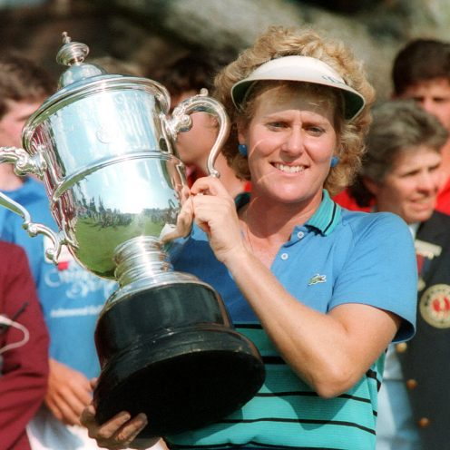 1995: Betsy King won 20 LPGA events between 1984-89, more wins than any other golfer in the world, male or female, during that time period. She won at least one event for 10 years starting in 1984. (Getty Images)