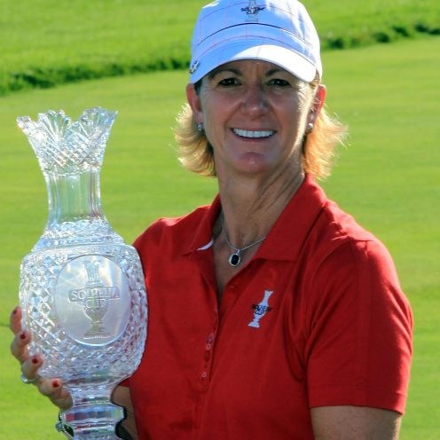 2000: Beth Daniel displays the Solheim Cup and her feisty red fingernails. She won the U.S. Women's Open in 1980 and the Nabisco Dinah Shore three times, in 1983, 1988, and 1991.