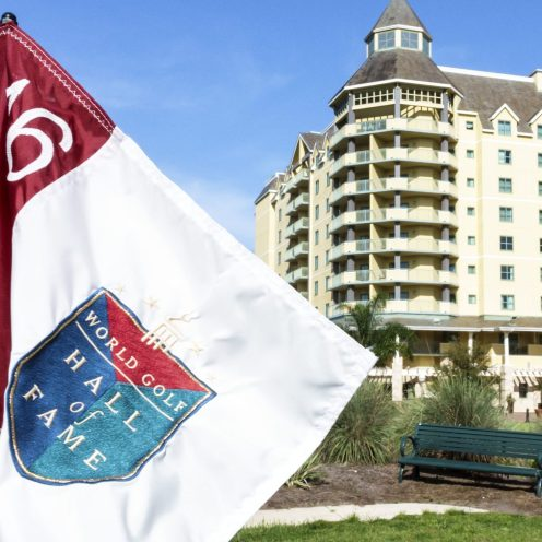 A Hall of Fame flag outside the World Golf Village Renaissance St. Augustine Resort. (Photo by: Jeffrey Greenberg/UIG via Getty Images)