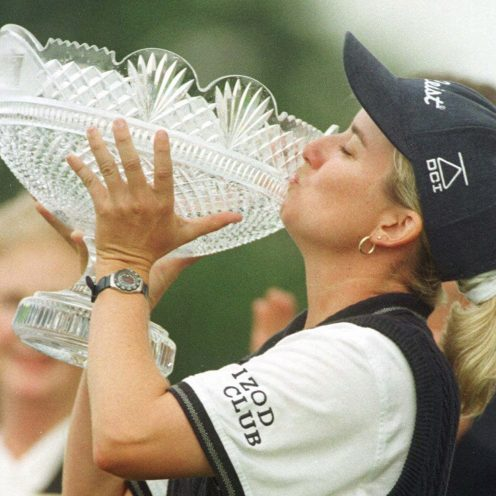 2005: Australian Karrie Webb continues to play on the LPGA Tour at age 44. Her 41 victories places her tied for 10th with Babe Zaharias all-time and is first among all active players. (Getty Images)