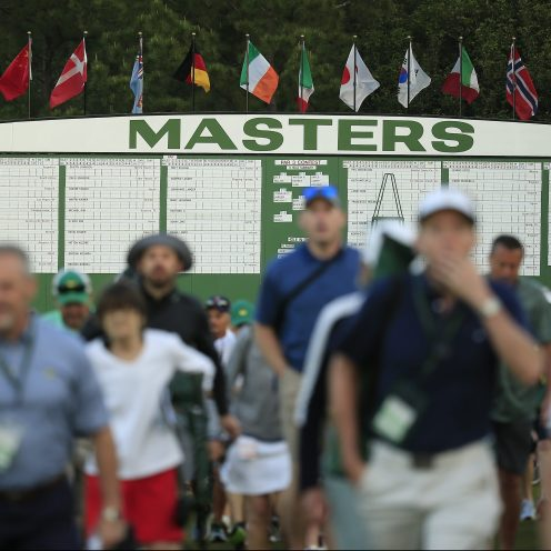 Masters patrons arrive during the first round of the Masters. (Augusta National)