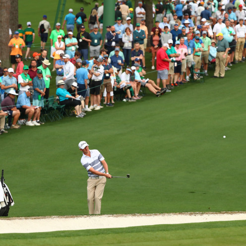 ustin Harding chips onto the 2nd green during the first round of The Masters golf tournament. (Rob Schumacher-USA TODAY Sports)