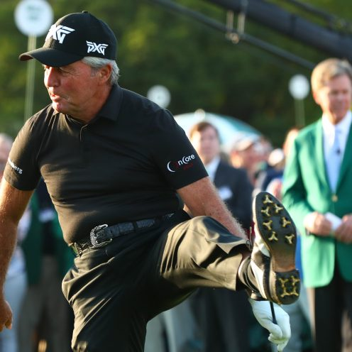 Honorary starter Gary Player reacts after hitting his ceremonial tee shot on the 1st hole during the first round of The Masters golf tournament. ( Rob Schumacher/USA TODAY Sports)