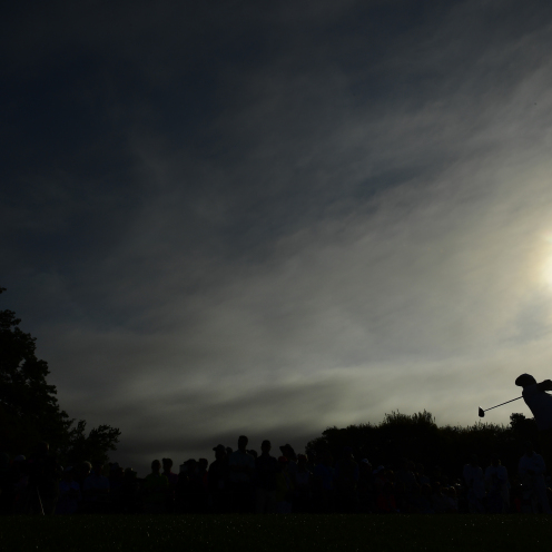 Keith Mitchell plays a stroke from the No. 1 tee during the first round of the Masters. (Augusta National)