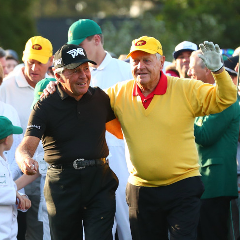 Honorary starters Gary Player and Jack Nicklaus greet each other on the first tee to open the 2019 Masters. (Rob Schumacher-USA TODAY Sports)