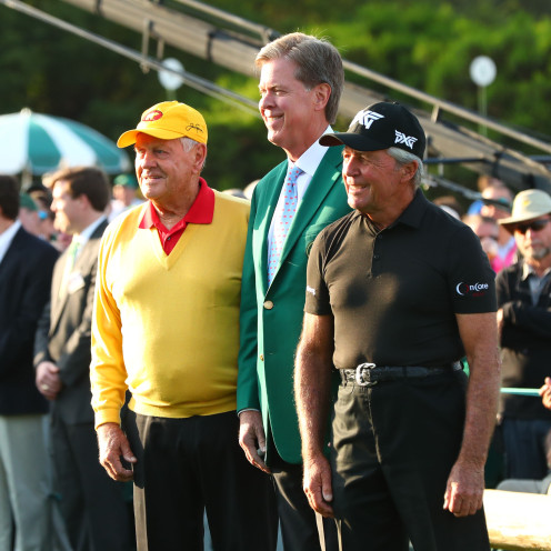 Augusta National chairman Fred Ridley poses for a photo with Jack Nicklaus and Gary Player after the ceremonial tee shot at the Masters. (Rob Schumacher/USA TODAY Sports)