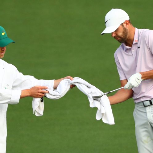 Kevin Tway with caddie Marc Sambol on the 2nd green Thursday. Mandatory Credit: Rob Schumacher-USA TODAY Sports