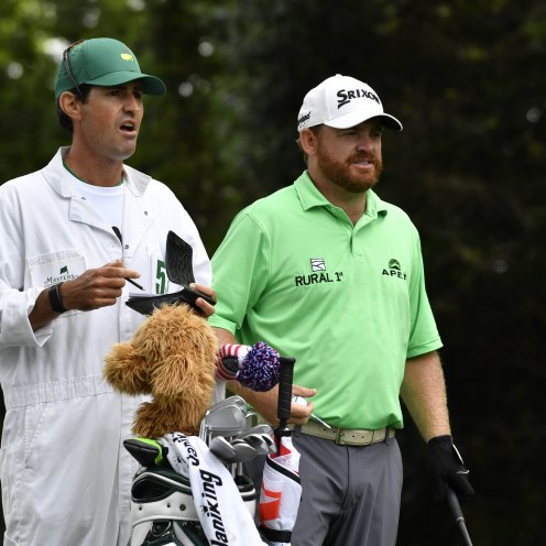 J.B. Holmes and caddie Brandon Parsons on the 2nd tee during the first round of The Masters golf tournament at Augusta. (Michael Madrid-USA TODAY Sports)