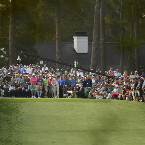 Andrew Landry plays a stroke from the No. 1 tee during the first round of the Masters. (Augusta National)