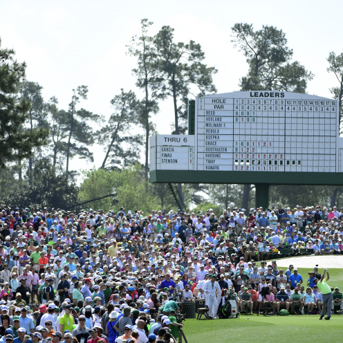 Jon Rahm of Spain drives from the No. 3 tee box during the first round of the Masters at Augusta National Golf Club. (Augusta National)