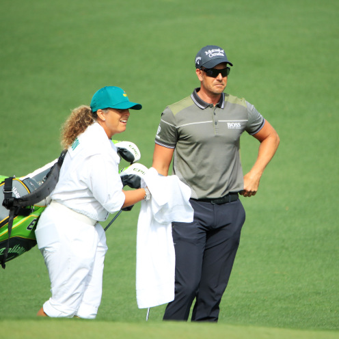 Henrik Stenson of Sweden walks to the second green with caddie Fanny Sunesson during the first round of the Masters at Augusta National Golf Club on April 11, 2019 in Augusta, Georgia. (Andrew Redington/Getty Images)